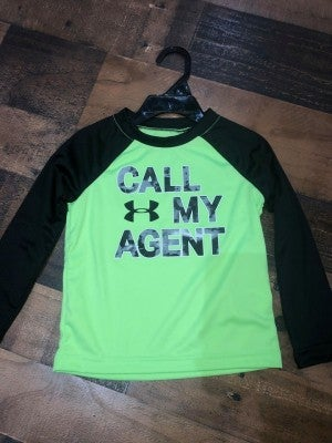 """lime green under armor """"call my agent"""" shirt"""