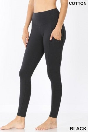 BETTER COTTON WIDE WAISTBAND FULL LENGTH LEGGINGS WITH POCKETS ( COLORS)