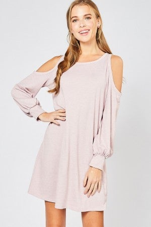 Cold-shoulder dress featuring puff sleeves (2 colors)