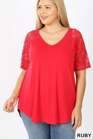 LACE SHORT SLEEVE TOP (4 COLORS)