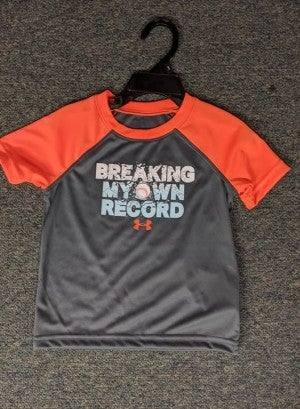 BOYS UNDER ARMOUR GRAY SHIRT W/ ORANGE SLEEVES BREAKING MY OWN RECORD