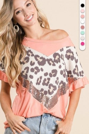 JERSEY KNIT TOP WITH LEOPARD AND SEQUINS V SHAPED BLOCK