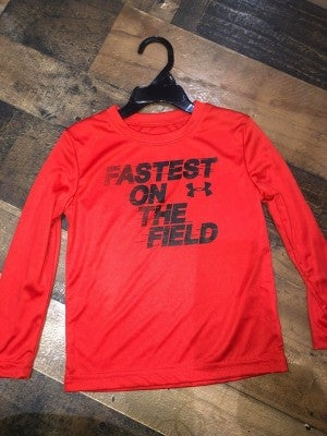 """under armor red """"fastest on the field"""" shirt"""