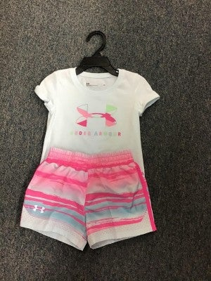 GIRLS UNDER ARMOUR shirt and shorts separate