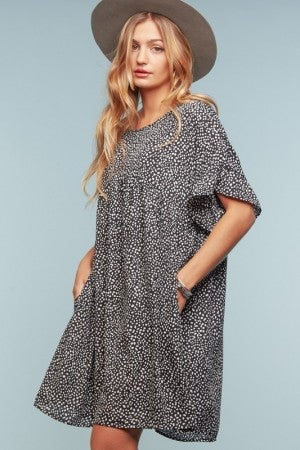 REGULAR AND CURVY SIZES SPOTTED LEOPARD ANIMAL PRINT SWING DRESS