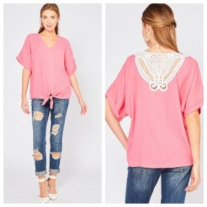 Button-up v-neck top featuring crochet lace detail at back