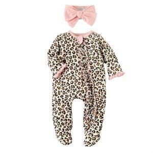 Mudpie cheetah onesie with bow
