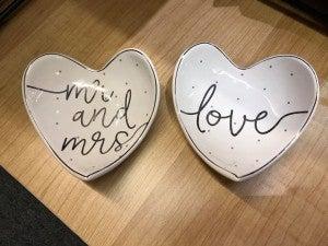 MUDPIE LOVE  AND MR & MRS HEART BOWL WEDDING