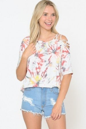 TIE DYE SHIRT WITH STRAPS ON ONE SHOULDER