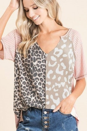 POINTELLE TOP WITH PRINT BLOCK