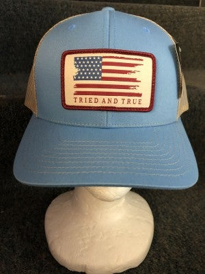 MEN'S TAN/BLUE TRIED & TRUE AMERICAN FLAG HAT
