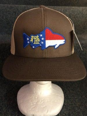 MEN'S TAN/BROWN FLAGGED FISH HAT