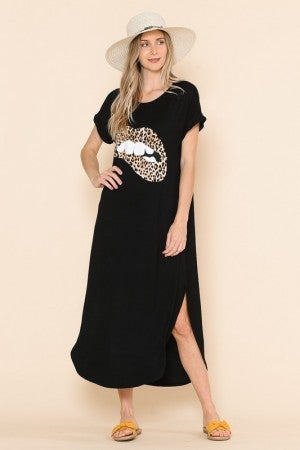 BLACK MAXI WITH LEOPARD LIPS