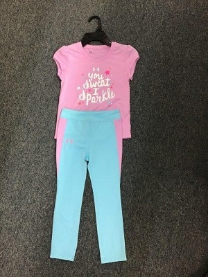 GIRLS UNDER ARMOUR LIGHT PURPLE /PINK SHIRT WITH PANTS