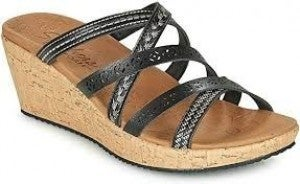 BLACK SKECHERS SANDAL WEDGE