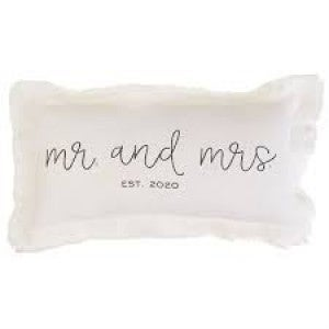 """MUDPIE """"MR. AND MRS. EST. 2020"""" PILLOW"""