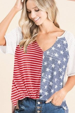 FLAG KNIT TOP