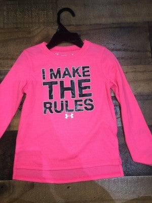 """""""I make the rules"""" pink under armor shirt"""