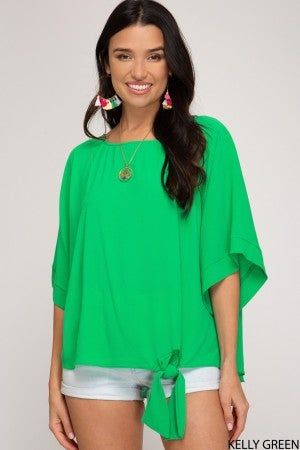 KIMONO SLEEVED TOP WITH SIDE TIE