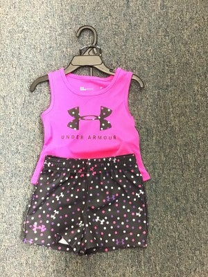 GIRLS UNDER ARMOUR PINK/ BLACK WITH POLKA DOTS