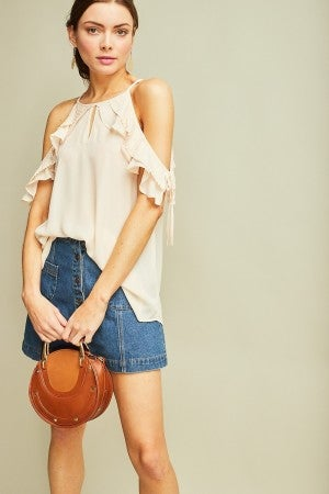 Solid open-shoulder top featuring ruffled sleeves