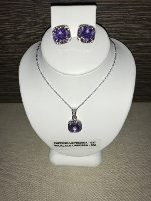 CZ AMETHYST AND MARCASITE NECKLACE AND EARRINGS (PRICED SEPERATLY)