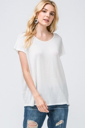 Cream Scoop-neck top featuring open back and draped detail at back.