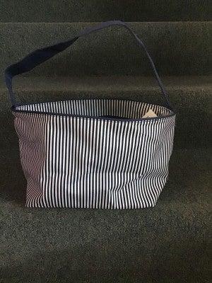 WB Navy Seersucker Basket