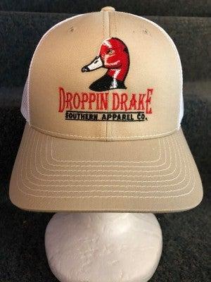 """MEN'S WHITE/TAN """"DROPPIN DRAKE"""" DUCK HEAD HAT"""