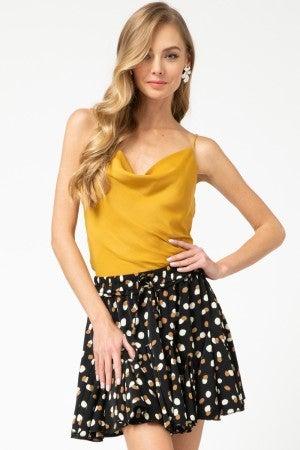 Multi-color geometric print ruffle skirt