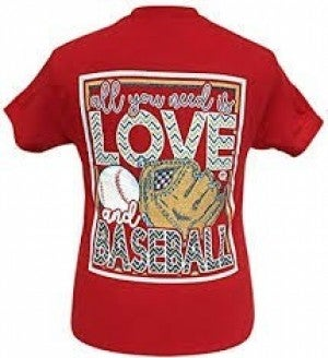 GIRLIE GIRL ORIGINALS RED T-SHIRT (ALL YOU NEED IS LOVE AND BASEBALL)