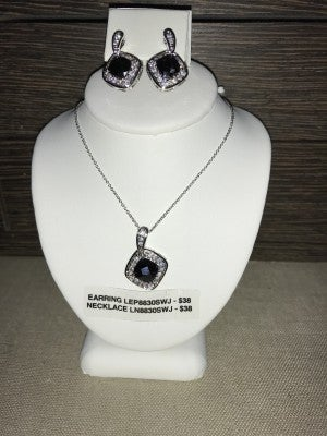 CZIRE BLACK ONYX AND CZ NECKLACE OR EARRINGS (SOLD SEPARATELY)