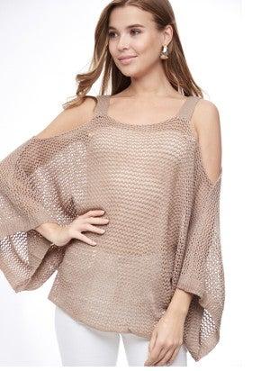 Cold shoulder Bell sleeve knit top