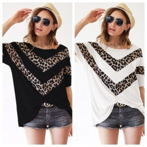 Jersey knit top with Leopard V Shape Front