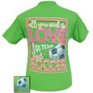 GIRLIE GIRL ORIGINALS GREEN T-SHIRT (ALL YOU NEED IS LOVE AND SOCCER)