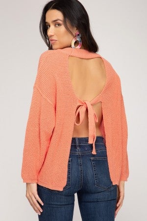 THIN OPEN BACK SWEATER WITH TIE DETAIL
