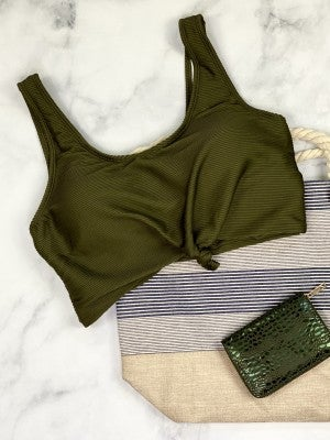The Miraval Cropped Swim Top in Olive