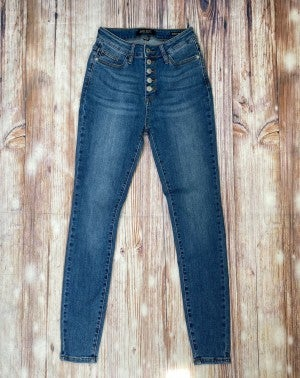 Fly Away High Waisted Button Fly Skinny Jeans