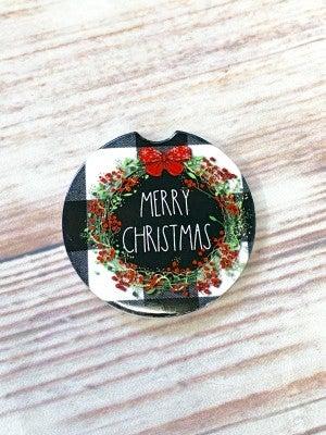 Buffalo Check Wreath Car Coaster in Merry