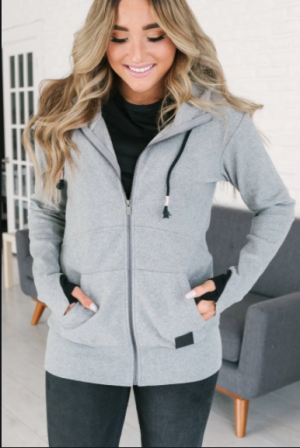 The Fab Full Zip Hoodie in Grey + Black