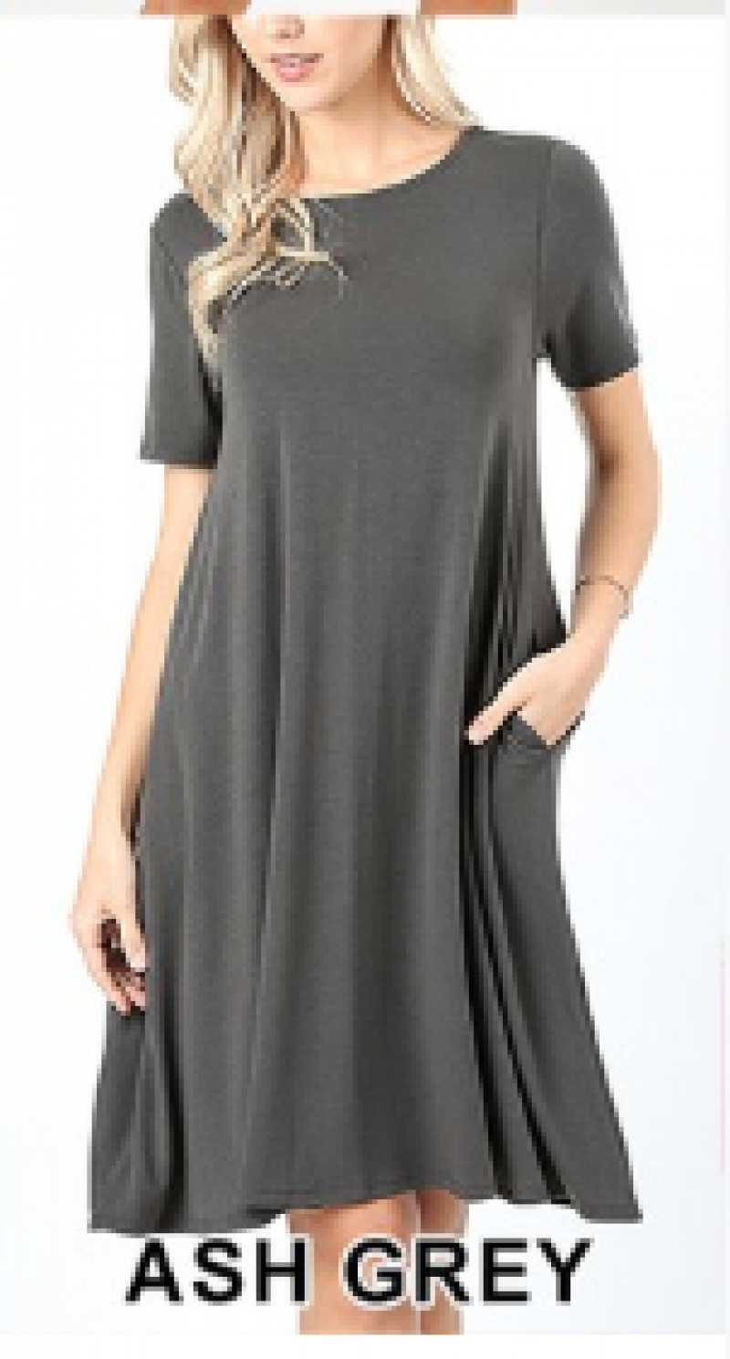 Favorite T-Shirt Dress in Fountain Stone