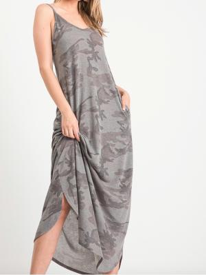 Charcoal Camo Spaghetti Strap Maxi Dress