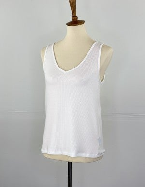 V-Neck Ribbed Fitted Layering Tank in Ivory