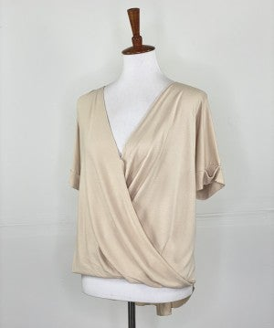 The Slouchy Summer Wrap Top in Taupe