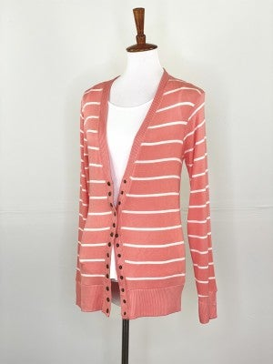 Coral + Ivory Snap Cardigan