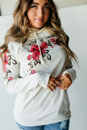 The Floral Embroidered Oatmeal Double Hooded Sweatshirt