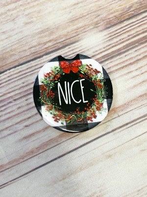 Buffalo Check Wreath Car Coaster in Nice