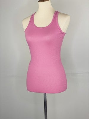 Fitted Ribbed Layering Tank In Candy Pink