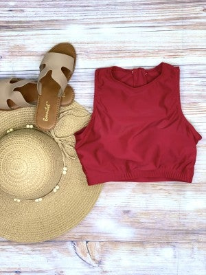 The Riviera Red Cropped Swim Top
