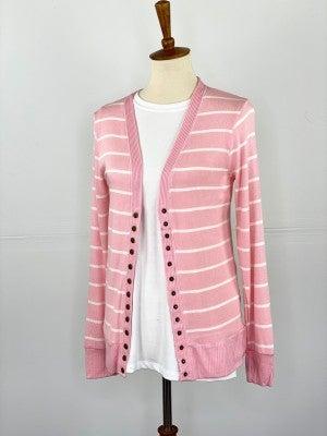 Rose Pink + Ivory Snap Cardigan